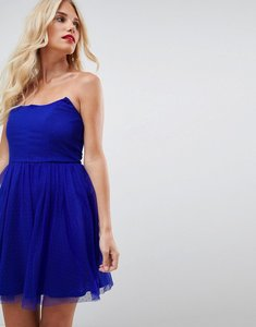 Read more about Asos design dobby bandeau skater mini dress - electric blue