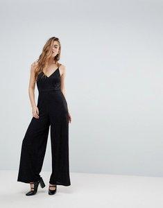 Read more about Miss selfridge sparkly wide leg jumpsuit - black