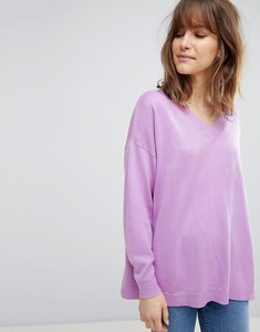 Read more about Asos design oversized jumper with v neck in eco yarn - lilac