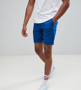 Read more about Asos design tall slim chino shorts in royal blue - true blue