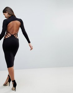 Read more about Asos strappy open back midi bodycon dress - black