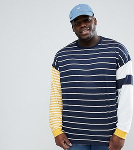 Read more about Asos plus oversized long sleeve t-shirt with contrast stripe - navy