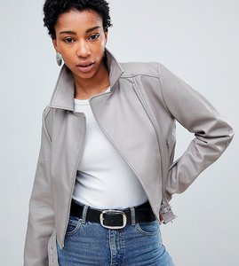 Read more about Asos design tall ultimate pu biker - grey