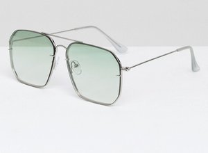 Read more about Asos laid on lens aviator fashion sunglasses with pale green fade lens - silver