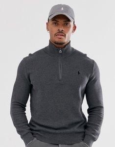 Read more about Polo ralph lauren icon logo textured pima cotton half zip jumper in dark grey marl