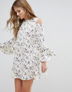 Read more about Influence cold shoulder bell sleeve dress - multi
