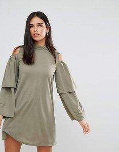 Read more about Ax paris cold shoulder frill sleeve shift dress - khaki