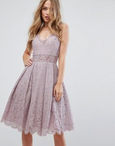 Read more about Chi chi london cami strap midi dress in premium lace - mauve
