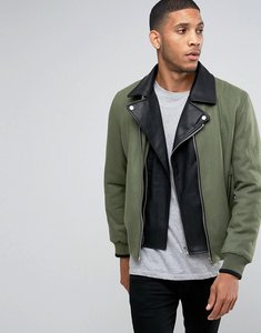 Read more about Asos wool mix bomber jacket with removable biker in khaki - khaki