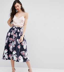 Read more about Y a s studio tall aliana full prom midi skirt in floral print - multi