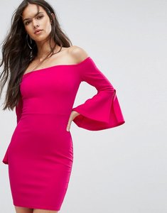 Read more about Outrageous fortune bardot mini pencil dress with flueted sleeve - fushia