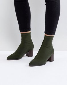 Read more about Asos ricky mid heeled sock boots - khaki