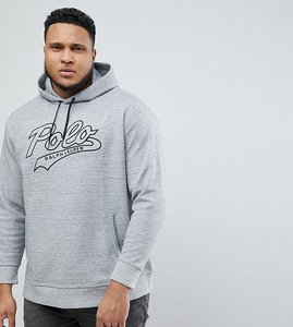 Read more about Polo ralph lauren big tall large polo logo overhead hoodie in grey marl - grey heather