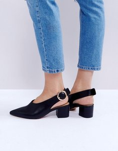 Read more about Asos slingshot mid heels - black