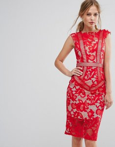 Read more about Little mistress lace panelled midi dress - red