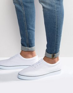 Read more about Asos lace up plimsolls in white - white