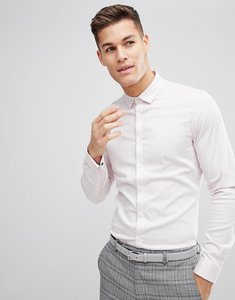 Read more about Asos design wedding slim herringbone shirt with double cuff in pink - pink