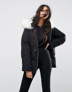 Read more about Asos puffer jacket with tie waist and faux fur hood - black