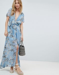 Read more about Prettylittlething floral maxi dress - blue