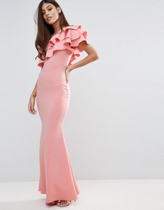 Read more about Club l bridesmaid one shoulder ruffle detail maxi dress - pink