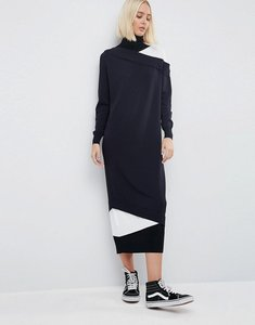 Read more about Asos white layered midi dress with roll neck - multi