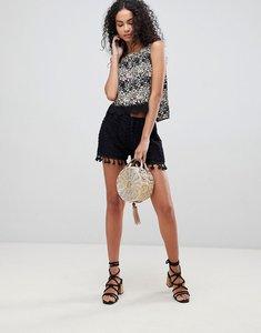 Read more about Brave soul daisy crochet shorts with tassle trim - black