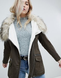 Read more about New look fur lined short parka - dark khaki