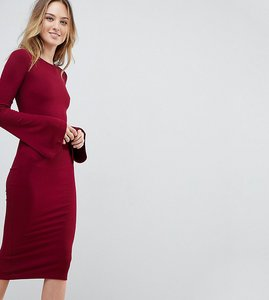 Read more about Asos tall midi bodycon dress with fluted sleeves - oxblood