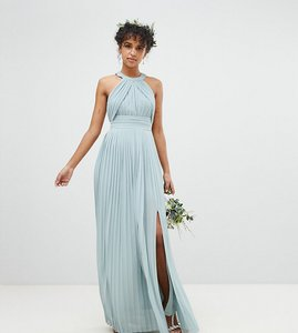 Read more about Tfnc pleated maxi bridesmaid dress - green lily