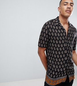 Read more about Asos design tall regular fit paisley shirt with border hem in black - black