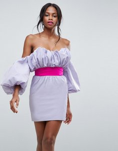 Read more about Asos oversized sleeve belted mini dress - lilac