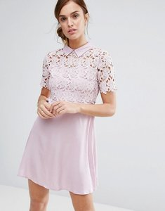 Read more about Little white lies philo dress lace shift dress with collar - blush