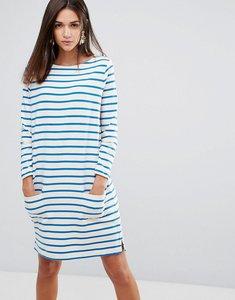 Read more about Ymc breton stripe shift dress - ecru blue