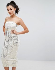 Read more about Prettylittlething premium lace bandeau sequin midi dress - white