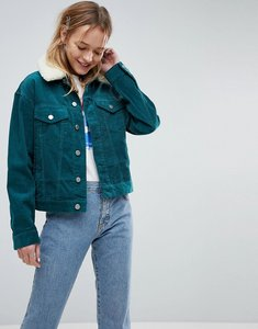Read more about Asos cord cropped jacket in emerald green with detachable borg collar - emerald