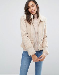 Read more about Miss selfridge faux shearling jacket - nude