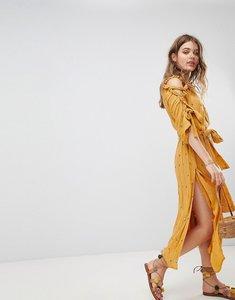 Read more about Sundress embellished off shoulder gold jasmine detail maxi summer dress - dark sand gold jas