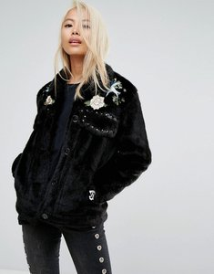 Read more about Jakke cropped faux fur jacket with western embroidery studding details - black