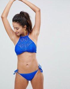Read more about New look crochet tie side bikini bottoms - blue