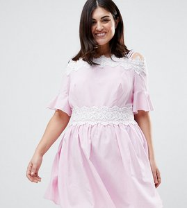 Read more about Koko stripe lace trim cold shoulder skater dress - pink