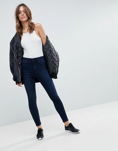 Read more about Asos ridley high waist skinny jeans in vivienne blue black wash - mid wash blue