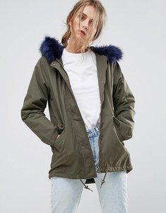 Read more about Missguided khaki faux fur lined parka coat - khaki