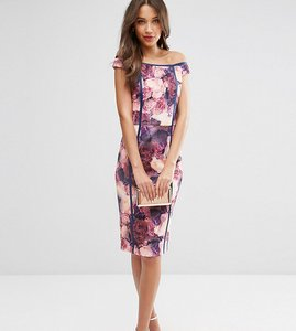 Read more about Asos tall salon bardot bodycon dress in mystical floral print - multi