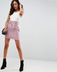 Read more about Asos tailored mini skirt with metal circle buckle - lilac
