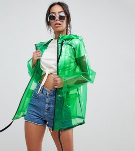Read more about Asos design tall rain jacket with contrast binding - green