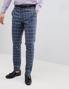 Read more about Asos design wedding skinny suit trousers in blue and white check - blue