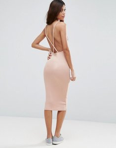 Read more about Asos midi dress in rib with cross back - nude