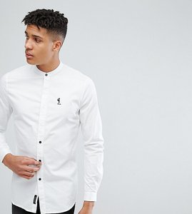 Read more about Religion tall shirt with grandad collar - white