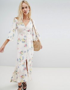 Read more about Asos design lace insert button through maxi dress in soft floral - multi