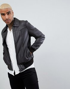 Read more about Goosecraft zagreb leather bomber jacket in brown - brown